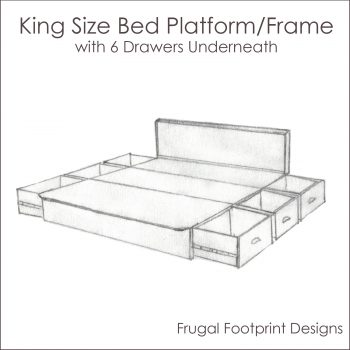 Bed Platform Frame with Drawers - King Size - Product Image